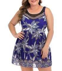 floral mesh panel tie back plus size skirted swimsuit