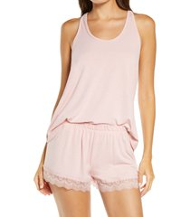 women's flora nikrooz stephanie knit short pajamas, size x-small - pink