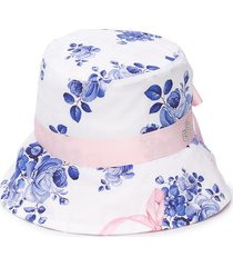 monnalisa floral print studded logo sun hat - white
