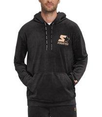 starter men's velour logo hoodie