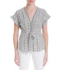 max studio women's tied v-neck floral border top - cream black - size xs