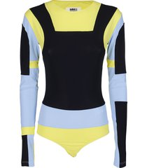 blue, yellow and black bodysuit