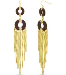 catherine malandrino wood circle tassel earring in yellow gold-tone alloy