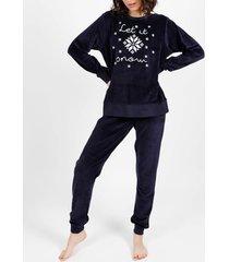 pyjama's / nachthemden admas homewear pyjamabroek fluwelen broek winter donkerblauw adma's