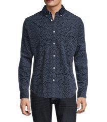 ben sherman men's paisley-print slim-fit shirt - navy blazer - size l