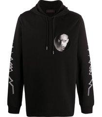 diesel black gold chest print hoodie