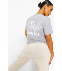 'babygirl' slogan back print t-shirt, grey