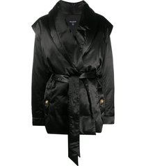 balmain oversized padded belted blazer - black