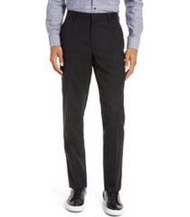 men's nordstrom tech-smart slim fit stretch wool dress pants, size 40 x unhemmed - black