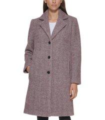dkny petite herringbone soft-touch walker coat, created for macy's