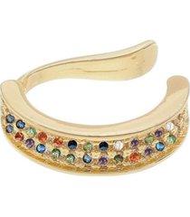 brinco piercing cravejado cristais coloridos borda lisa banhado a ouro 18k