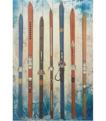 "empire art direct 'retro skis 2' arte de legno digital print on solid wood wall art - 45"" x 30"""