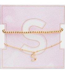 delicate initial bracelet set - s