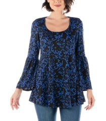 women's floral print bell sleeve tunic top