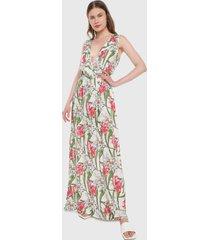 vestido blanco-coral-verde paris district