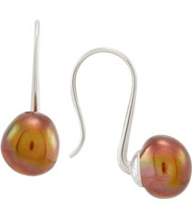 cultured freshwater chocolate baroque pearl (11mm) drop earrings in sterling silver