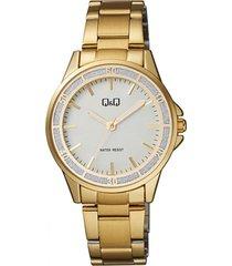 reloj para dama elegante q&q qb47j011y  oro