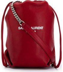 saint laurent teddy chain pouch - red