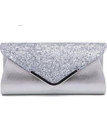 bolsa clutch liage envelope brilho glitter e metal alça removível prata - tricae