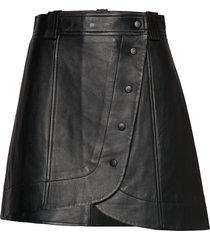 lamb leather kort kjol svart ganni