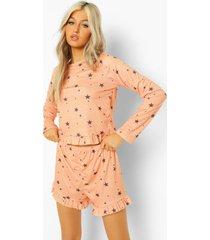 tall sterrenprint pyjama set met top met geplooide zoom en shorts, apricot