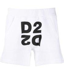 dsquared2 mirrored d2 logo track shorts - white