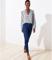loft button fly skinny jeans in refined blue wash