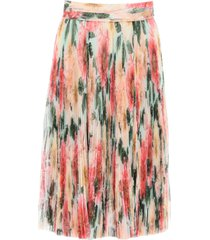 dolce & gabbana camellia print pleated midi skirt