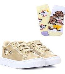 kit tênis infantil kurz glitter + 2 meias disney bela - feminino