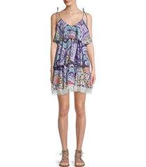 multicolor bohemian-print tier shift dress