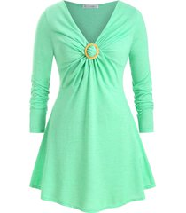 o ring twisted front v neck plus size longline top