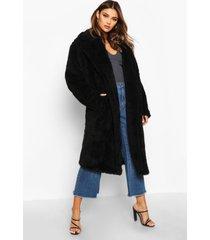 oversized teddy faux fur coat, black
