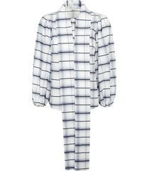 red valentino check print scarfed detail shirt