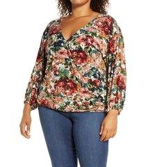 loveappella loveapella wrap front blouson top, size 2x in marsala/olive at nordstrom