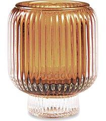 porta velas vidro ã'mbar mart 8cmx7cmx7cm - marrom - feminino - dafiti
