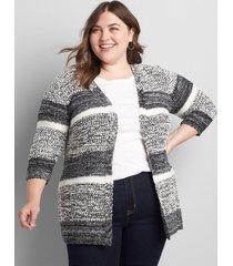lane bryant women's striped open-front cardigan 10/12 multi stripe