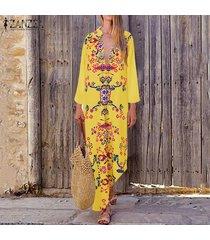 zanzea vestido largo casual de caftán floral para mujer vestidos largos de cóctel con cuello en v -amarillo