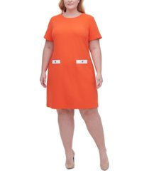 tommy hilfiger plus scuba crepe two pocket a-line dress