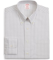 brooks brothers madison classic fit stretch windowpane dress shirt, size 18.5 - 37 in brown at nordstrom