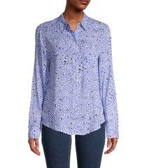 cooper & ella women's spotted long-sleeve shirt - blue spot - size xl