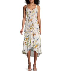 parker women's melody floral ruched dress - juniper - size 12