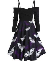 bat print halloween fit and flare spaghetti strap dress