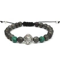 braccialetto di uomini di roccia gemma verde di malachite faceted matita ematite lion head beaded bracciale