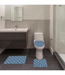 jogo de banheiro natal flamingo azul único