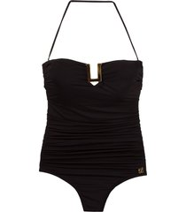 brigitte bandeau draped swimsuit - black