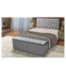cabeceira e calçadeira baú casal 140cm para cama box sofia suede cinza - ds móveis