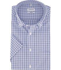 overhemd korte mouwen seidensticker blauw geruit