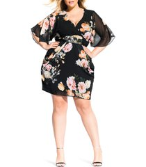 plus size women's city chic tuscan rose dress, size x-small - black