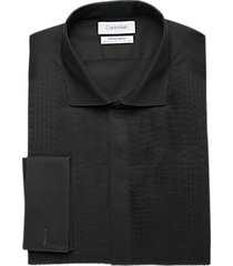 calvin klein infinite non-iron black multi pleated bib slim fit formal dress shirt