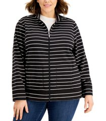 karen scott plus size striped zippered sweatshirt, created for macy's